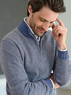 cashmere - Bluse i 100% kashmir med standkrave