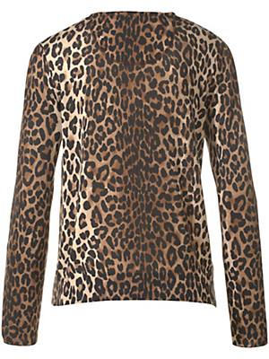 Anna Aura - Lækker blød strikjakke med leopardprikket mønster