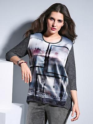 FRAPP - Shirt med rund hals og 3/4-lange ærmer