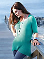 Anna Aura - Bluse rund hals med korte ærmer med ekstra længde