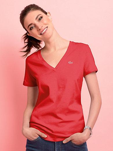 Lacoste - Bluse med V-hals og korte ærmer