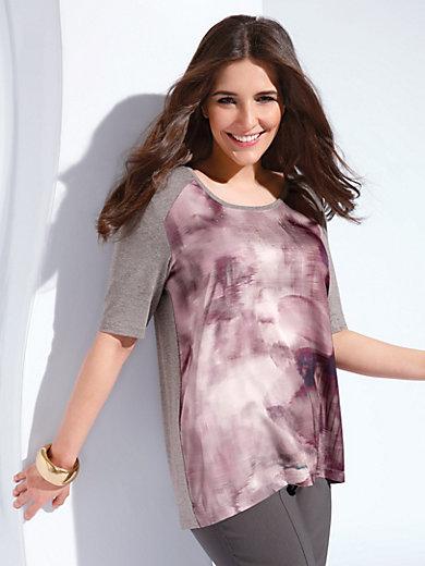 Samoon - T-shirt m.rund hals og korte ærmer